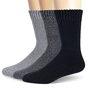 MOGGEI Mens Dress Classic Casual Crew Thick Warm Wool Winter Socks 3 Pack (Mix-3 pairs)