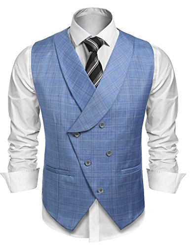 Blue Plaid Suit (Coofandy Men's Plaid Slim Fit Double Breasted Dress Suit Button Down Vest Waistcoat,Light Blue,Medium)