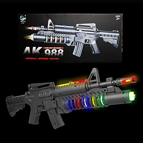 Fun Central AT758 LED Carbine Toy Gun, Carbine Light Up LED Gun, Toy Carbine LED Gun-for Party Favors, Gifts, Prizes, Rewards, Giveaways by Fun Central