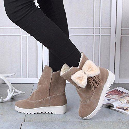 Sikye Kvinnor Vinter Mode Snö Stövlar Lätta Kvinnliga Boots Stor Rosett Skor Khaki