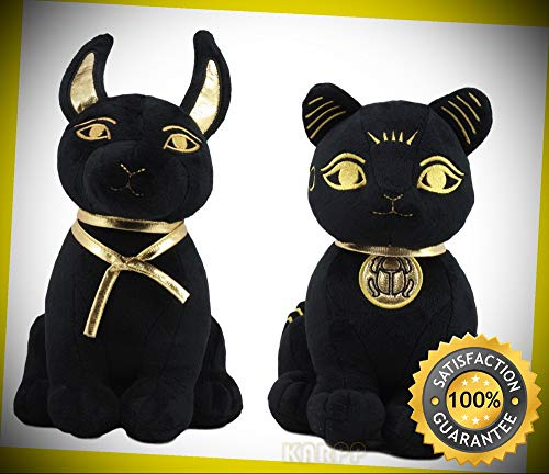 KARPP Egyptian Gods Anubis Jackal Dog and Bastet Cat Plush Toys Set of 2 Stuffed Dolls Perfect Indoor Collectible Figurines