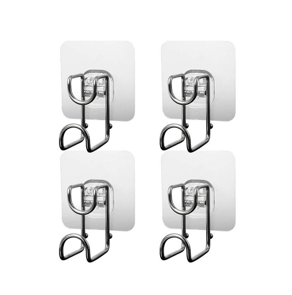Unilive Stainless Steel Adhesive Wall Hooks Multi Functional Strong Adhesive Wash Basin Seamless Storage Hook for Kitchen Bathroom 4pack