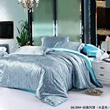Newrara Soft Silky Satin Flower Printed Blue 4pcs Sheet Set for Queen/king Bed (King (Not Include Comforter)) (King (not include comforter))