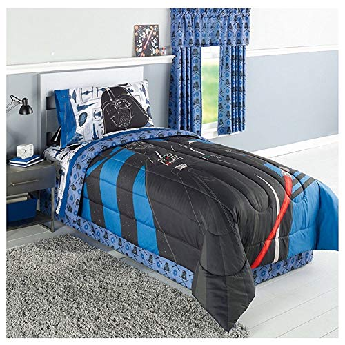 Disney Star Wars Kids Darth Vader Twin Bedding - Reversible Comforter, Sheet Set with Reversible Pillowcase and Talking Plush Darth Vader