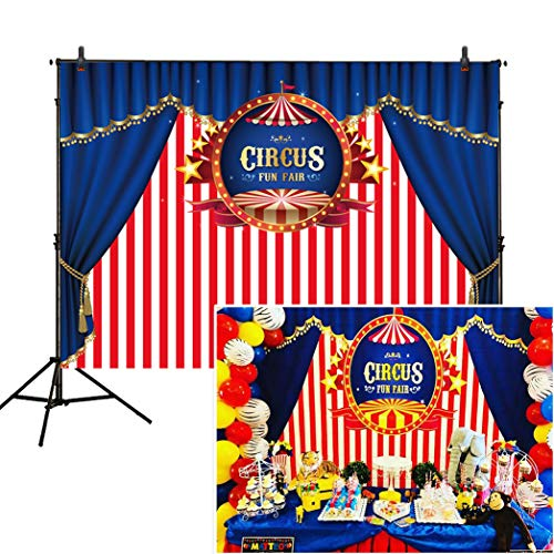 Allenjoy 7x5ft Circus Backdrop Carnival Carousel White Red Stripes Blue First 1st Background Girl Boy Birthday Party Dessert Table Decor Decoration Baby Shower Banner Photo Shoot Booth