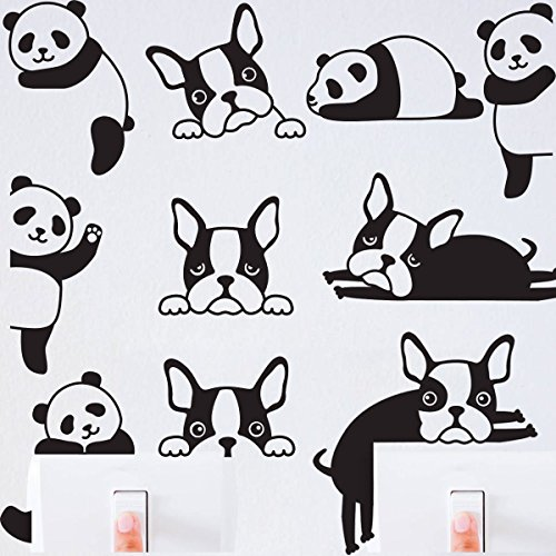 Vinyl Panda (JOYRESIDE 10 Pieces/Set Cute Panda Dogs Wall Decal Vinyl Switch Sticker Home House Decoration Nursery Bedroom Decor YMX17 (Black))
