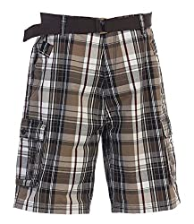 Gioberti Mens Plaid Cargo Shorts with Belt, Brown / Black, Size 30