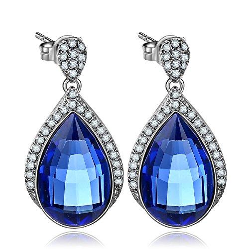 [Forcolor Teardrop Blue SWAROVSKI WLEMENTS Crystal Earrings silver jewelry White Gold Plated] (Garnet Swarovski Austrian Crystal)