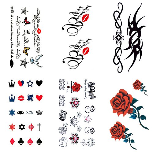 Temporary Tattoos for Women, 6 Sheets Small Size Body Art Tattoos Sticker Paper Fake Tattoos Rose, Flowers, Butterfly, Star and Heart, Long Lasting for Women Men Girls and Boys
