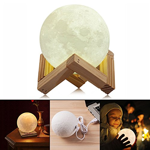 AIFONE Night Light PLDM 3D Printing Moon Lamp, Warm and Cool White Dimmable Touch Control Brightness with USB Charging,Home Decorative Lights by AIFONE (Image #3)
