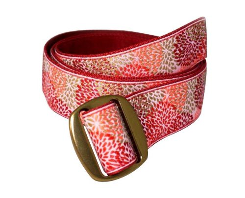 Bison Designs Women's Manzo Belt with Anodized Aluminum Buckle, Coral Reef, (Bison Belt)