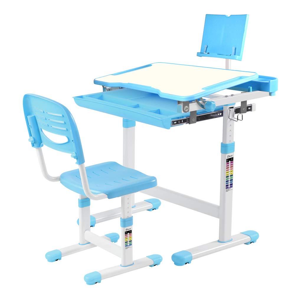 IDEER LIFE Children's Desk and Chair Set, Height Adjustable Kids Student School Study Desk Table Work Station with Drawer Storage, Tilting Desktop &Bookstand for Children,Kids,Boys&Girls (Blue 04002)