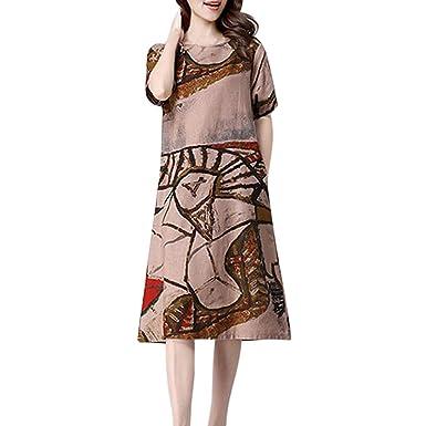 SHJIRsei Vestidos Mujer Verano, Nuevo Vestido Estampado para Mujer ...