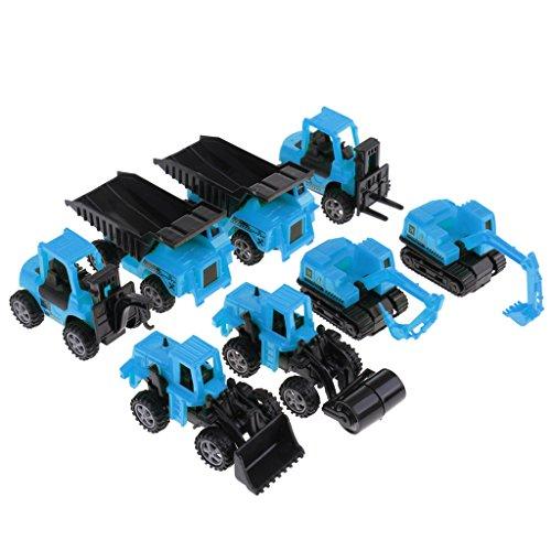 Fenteer 全2カラー 子供 誕生日 プレゼント 贈り物 ふり遊びゲーム エンジニアリング トラック 車モデル 8個入り - 青