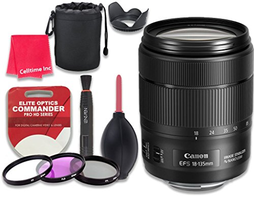 Canon EF-S 18-135mm f/3.5-5.6 IS USM Lens for Canon DSLR Cameras - International Version (No Warranty) + 3pc Filter Kit (UV, FLD, CPL) + 3pc Accessory Kit w/ Celltime Cleaning Cloth by Celltime Inc.