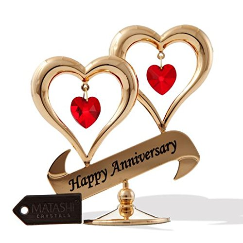 Anniversary gift for her amazon matashi 24k gold plated happy anniversary double heart table top ornament with red crystals negle Gallery