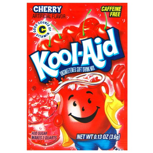 Kool-Aid Cherry Unsweetened Soft Drink Mix, 0.13 Oz (Bonus Pack of 50 (0.13 Ounce Pack)