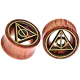 0g plug wood - Deathly Hallows Organic Wood Flesh Tunnels Double Flared Ear Stretcher Saddle Plugs Gauge 8mm