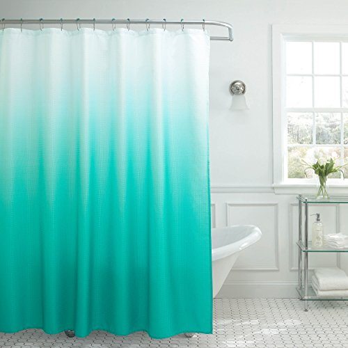 Creative Home Ideas Ombre Textured Shower Curtain with Beaded Rings, Turquoise