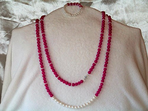 Drape Choker - Unhibited| Necklace and Bracelet | Features hot pink, Jade stones with white, glass pearl drape | Heirloom Quality | One of a Kind: Once sold no other will be available.