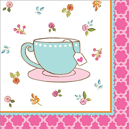 Creative Converting 16 Count Beverage Napkins, Tea - Time Tea Teapot