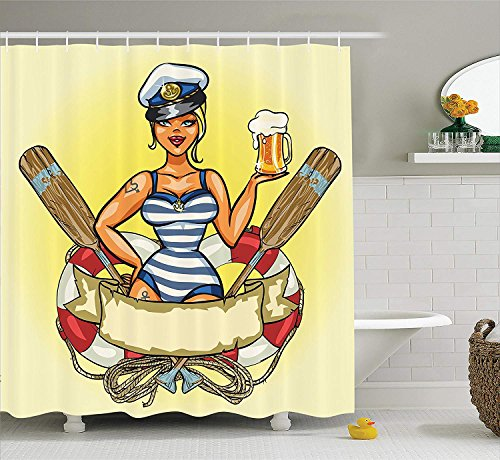 PAUSEBOLL Girly Pin-up Sexy Sailor Girl in Lifebuoy with Captain Hat and Costume Glass of Beer Feminine Design Multi Shower Curtain Bathroom with Hooks,Waterproof Polyester Curtain -