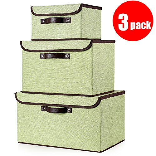 senbowe Foldable Storage Cubes [3-Size] Linen Fabric Foldable Storage Cubes Bin Box Containers Organizer Basket with Lid, Dual Handles, for Home, Office, Nursery, Closet, Bedroom, Living Room by senbowe