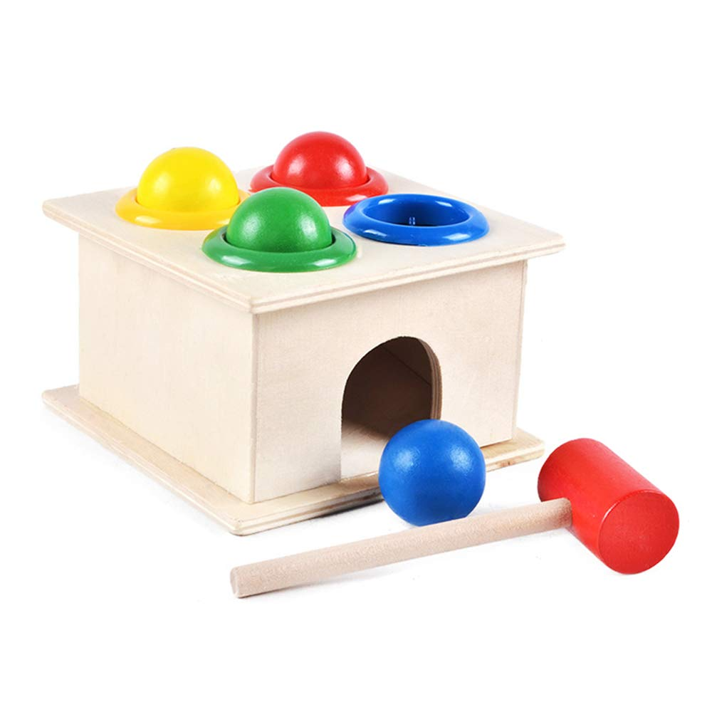 A HAIZHEN Intellectual Toy Infant Beats Toy Wooden Educational Toy Knocking Table Exercise arm Game Boy and Girl Gifts (color   B)