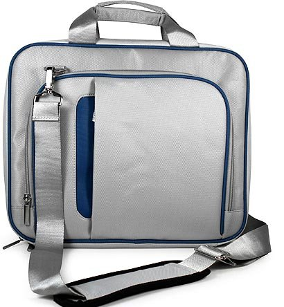 Barnes & Noble NOOK HD+ 9 Messenger Lightweight Shoulder Bag SILVER with BLUE Trim Pin Shoulder Pad Carrying Case Sturdy -