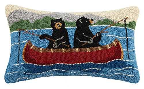 Peking Handicraft Bears on Canoe Hook Pillow, Multicolored