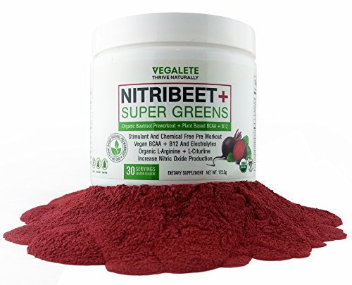Preworkout By Vegalete   Nitric Oxide Supplements Beetroot Powder with Amino Acids bcaa Super Greens & Vitamin b12   Everything you need in an Organic, Chemical & Stimulant Free Natural Preworkout