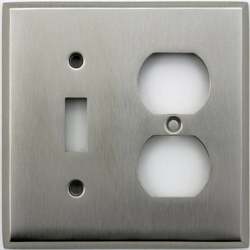 Classic Accents Stamped Steel Satin Nickel Two Gang Wall Plate - One Toggle Light Switch One Duplex Outlet Duplex Electrical Accent Wall Plate
