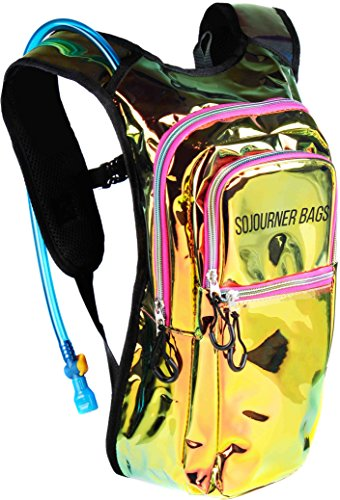 Sojourner Rave Hydration Pack Backpack - 2L Water Bladder Included for Festivals, Raves, Hiking, Biking, Climbing, Running and More (Multiple Styles) (Laser Holographic - - Pack Festival