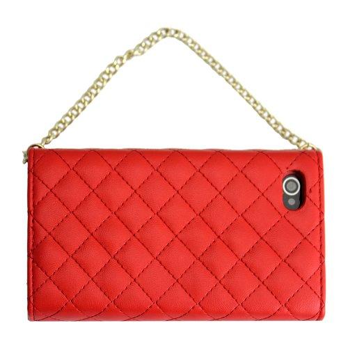 Apple iPhone 4 4S Polster ROT clutch Handtasche Kunst-Leder Design Flip Schutz-Hülle Case Flip Tasche Cover thematys®