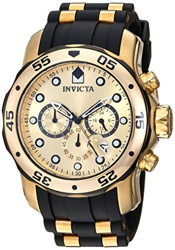 Chronograph Stainless Steel Ring (Invicta Men's 17885 Pro Diver Ion-Plated Stainless Steel Watch with Polyurethane Band)