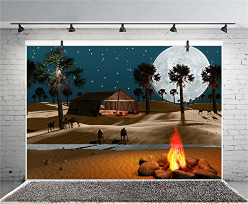 Leyiyi 5x3ft Photography Background Sahara Desert Night Camping Round Moon Camel Tent Fire River Stone Trees Sparkle…