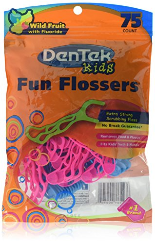 DenTek Kids Fun Flossers Wild Fruit | 75-Count Floss Picks | 2-Pack