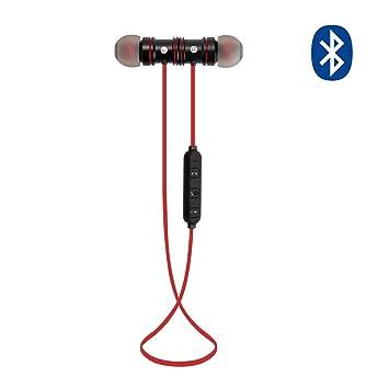 MAXAH Auriculares Inalámbricos de Deportes Bluetooth 4.1 Magnético Auriculares In-Ear Manos Libres con Bluetooth con Micrófono (Negro-rojo): Amazon.es: ...