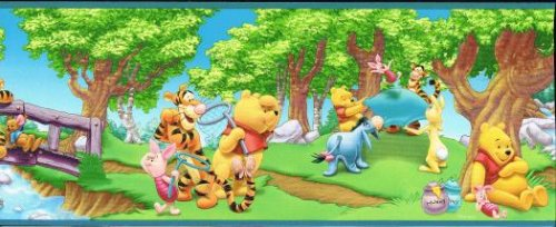 Disney's Winnie the Pooh Summer Fun Blue Border (Pooh Disney Wallpaper The Border Winnie)
