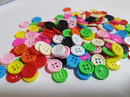 Kocraft - Kocraft - Buttons Sewing Craft supplies - Size 10 mm with 4 Holes Striped - Bulk 350 Pcs. Multicolor Mixed color For Diy Kid Crafting Assorted Round Colorful - Black Vintage Glass Buttons