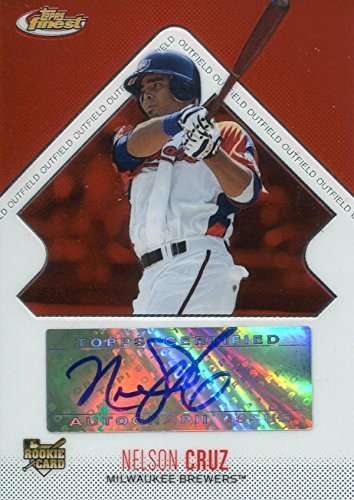 Nelson Cruz Autographed 2006 Red Topps Finest Rookie Card - Baseball Slabbed Autographed Cards