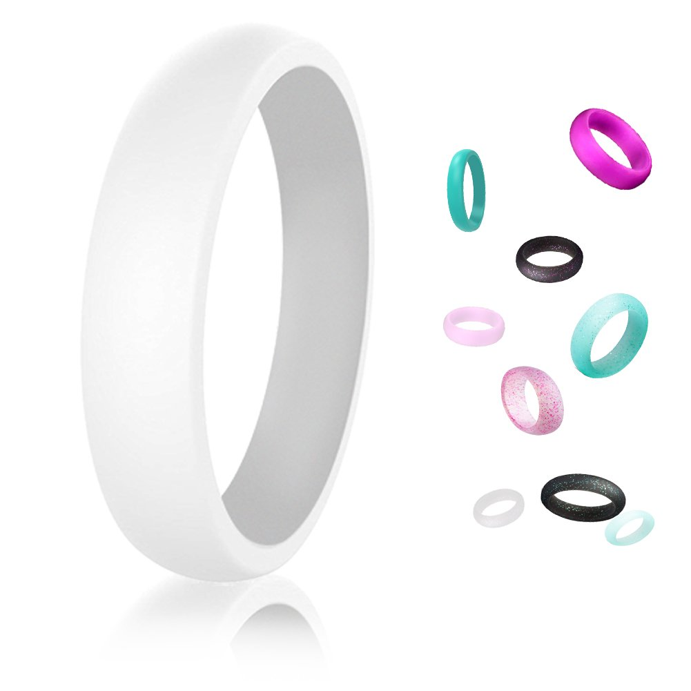 Custom Wedding Bands Silicone Rings - Rubber Engagement Ring for Mechanics, Athletic (7 Pack,Size 8)