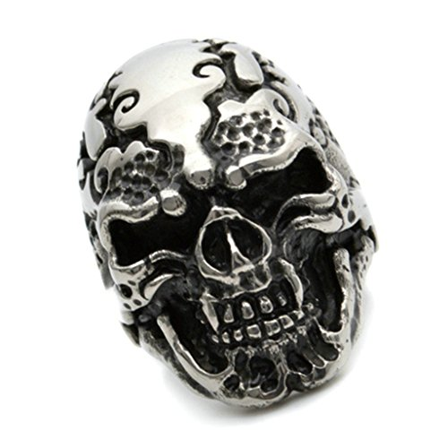 Gnzoe Men Stainless Steel Ring, Retro Gothic Punk Skull Rings Silver Black, Size 9