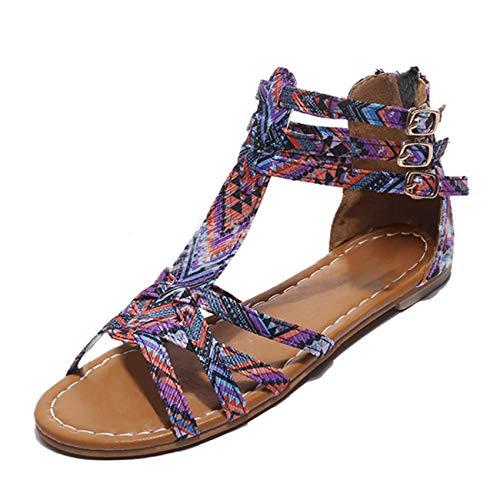 Mashiaoyi Women's Folk-Style Peep-Toe T-Bar Buckle Zip Flat Gladiator Sandals 9 US Purple
