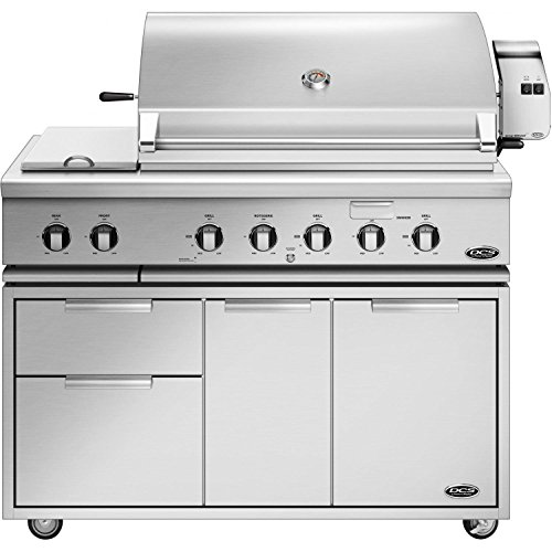 Dcs 48 Inch Grill Cart (Dcs Professional 48-inch Freestanding Propane Gas Grill With Double Side Burner & Rotisserie On Dcs Cad Cart - Bh1-48rs-l)