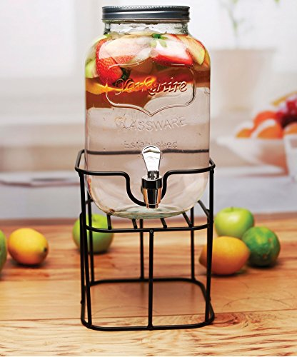 Circleware 69122 Sun Tea Mini Mason Jar Glass Beverage Dispenser with Lid Glassware for Water, Juice, Beer, Wine, Liquor, Kombucha Iced Punch & Cold Drinks, Classic, Yorkshire 1 Gallon with Stand by Circleware (Image #1)