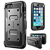 iPhone 5/5s/SE Case, i-Blason [Armorbox] [Built-in Screen Protector] [Full Body] [Heavy Duty Protection ] Holster Bumper Case for Apple iPhone SE/5S/5 (Black)