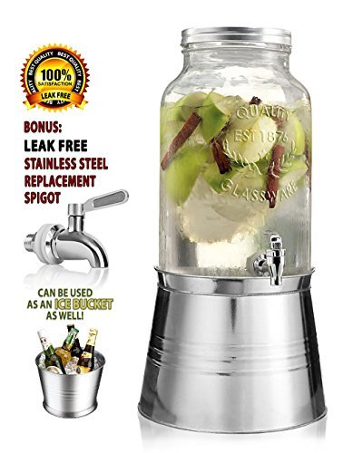 Clear Glass Mason Jar Beverage Drink Dispenser - Galvanized Metal Base Stand Use As Ice Bucket - 1.5 Gallon - Stainless Steel Leak Free Spigot Included - Home Bar & Party Glass Jug Centerpiece