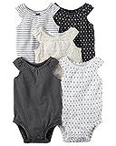 William Carter Girls 5 Pack Short Sleeve Bodysuit Undershirt Set Sleeveless Black, 24 Months