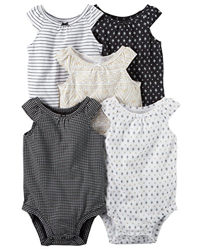 William Carter Girls 5 Pack Short Sleeve Bodysuit Undershirt Set Sleeveless Black, 6 Months
